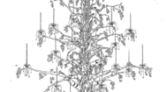 Picture of MONUMENTAL BIRCH TREE AND GLASS BEAD CHANDELIER CONCEPT BY ANDREW FISHER